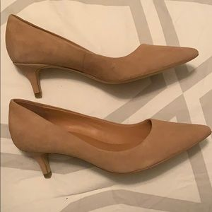JCrew Nude Colored Suede pumps.